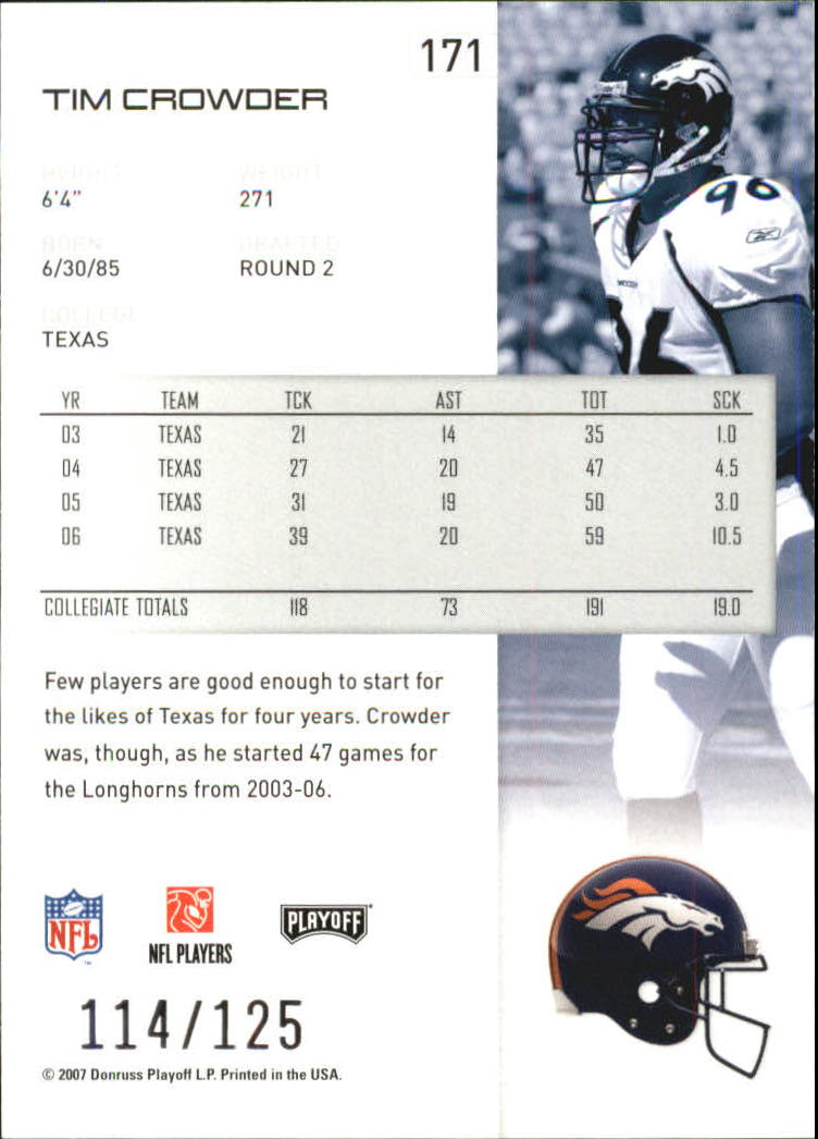 2007-Playoff-NFL-playoffs-Rojo-Metalizado-De-Futbol-Tarjeta-Pick miniatura 343