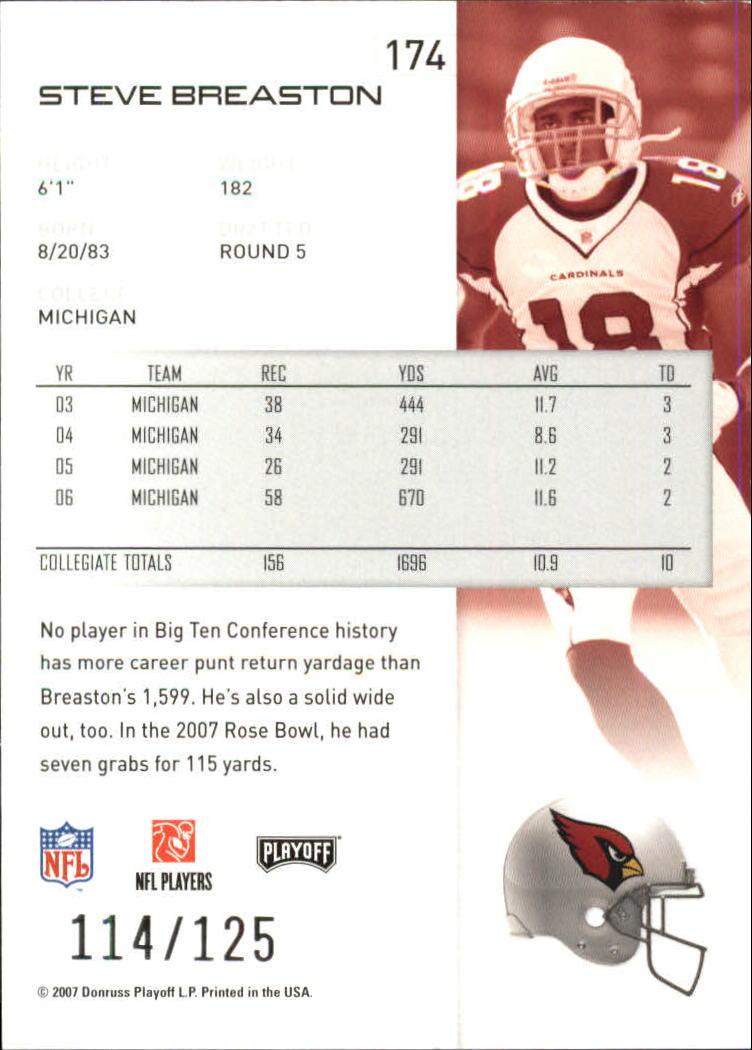 2007-Playoff-NFL-playoffs-Rojo-Metalizado-De-Futbol-Tarjeta-Pick miniatura 349