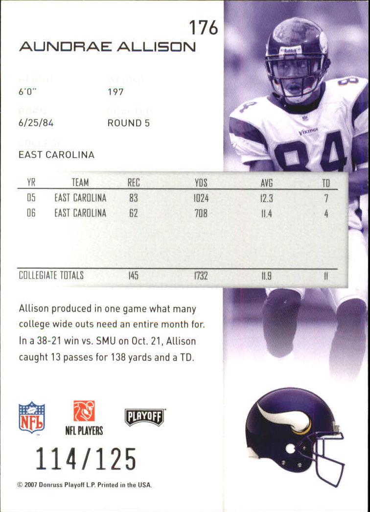 2007-Playoff-NFL-playoffs-Rojo-Metalizado-De-Futbol-Tarjeta-Pick miniatura 353