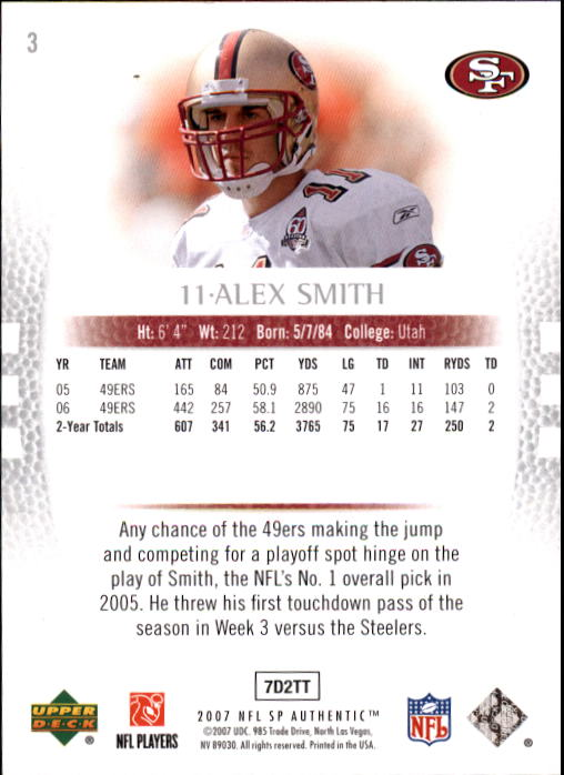 2007 SP Authentic #3 Alex Smith QB back image