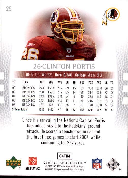 2007 SP Authentic #25 Clinton Portis back image