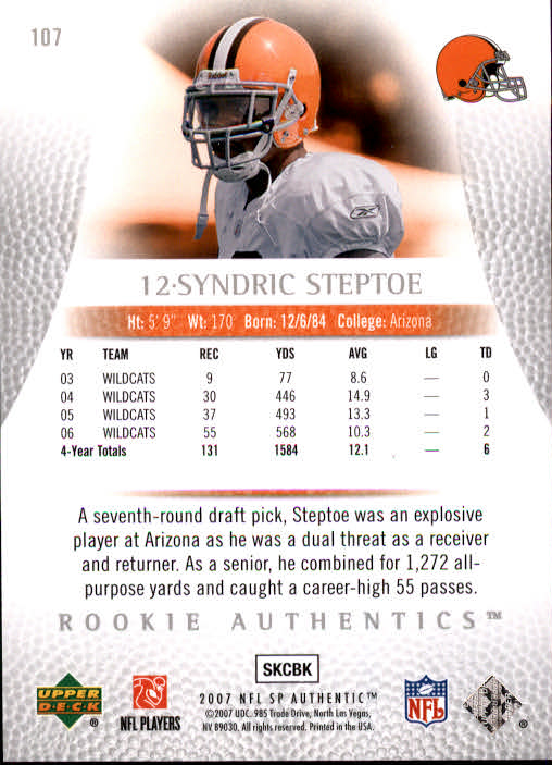 2007 SP Authentic #107 Syndric Steptoe RC back image