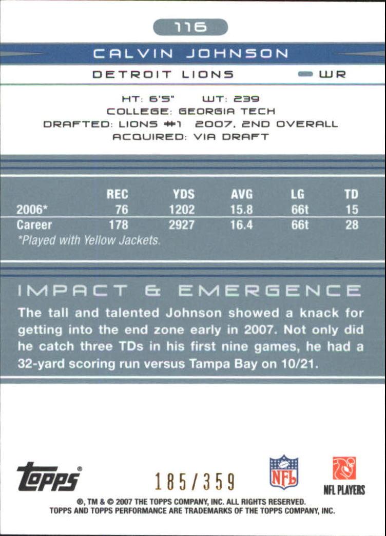 2007 Topps Performance #116 Calvin Johnson RC back image