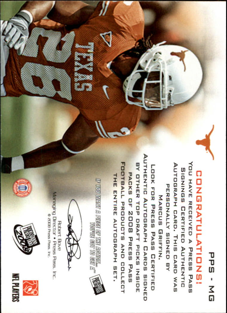 2008 Press Pass Autographs Bronze #PPSMG Marcus Griffin back image