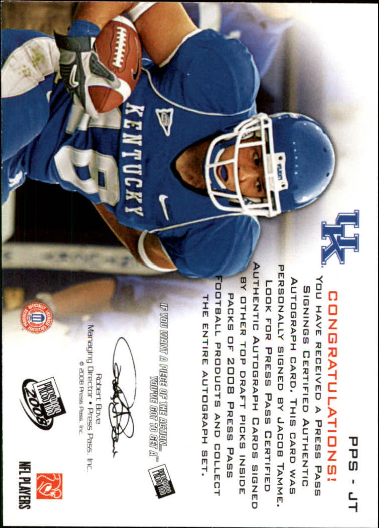 2008 Press Pass Autographs Bronze #PPSJT Jacob Tamme back image