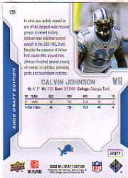 2008 Upper Deck Draft Edition #136 Calvin Johnson back image