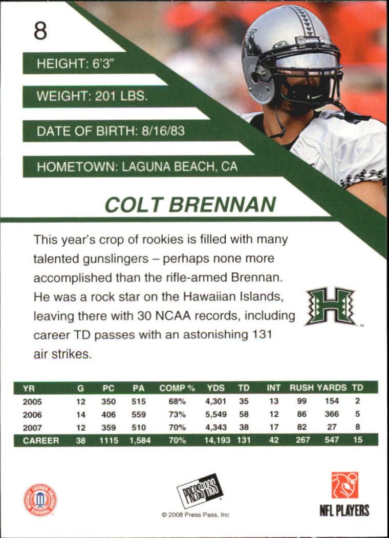 2008 Press Pass SE #8 Colt Brennan back image