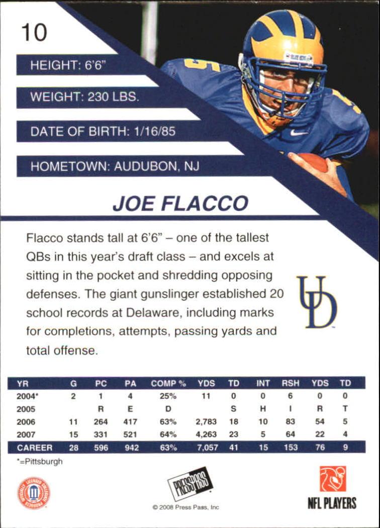 2008 Press Pass SE #10 Joe Flacco back image