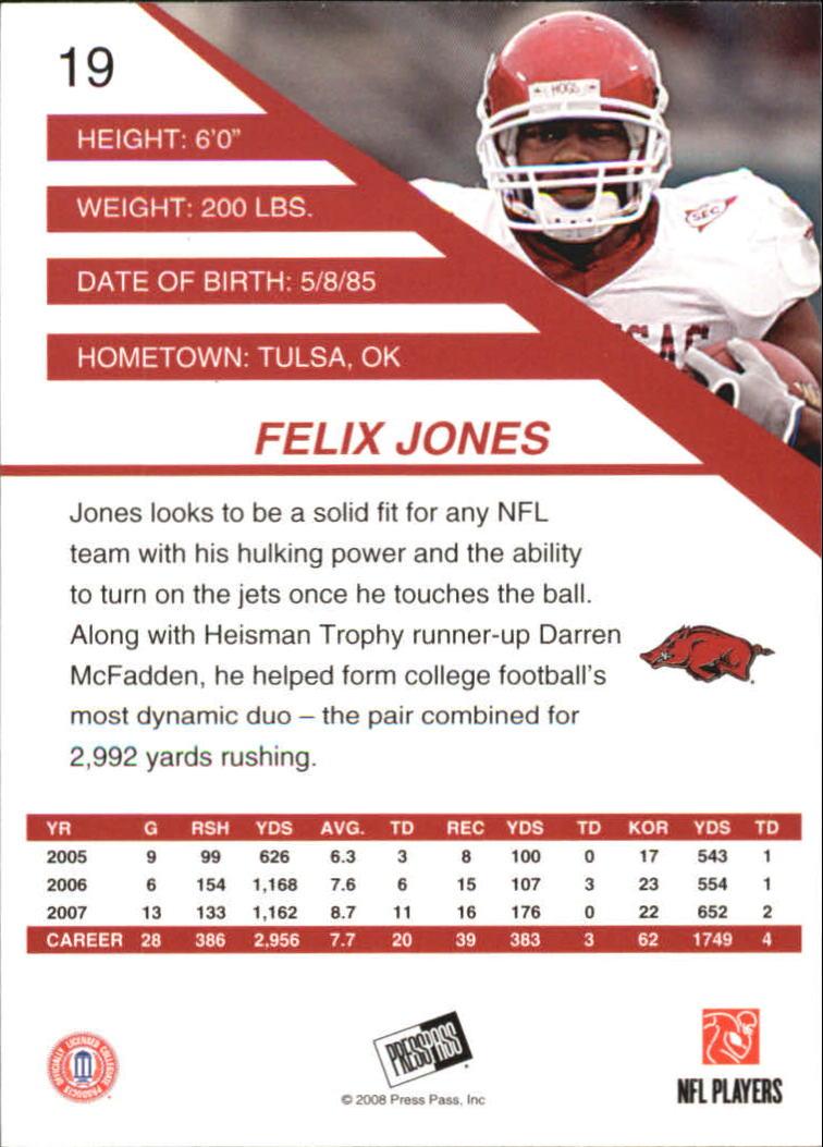 2008 Press Pass SE #19 Felix Jones back image