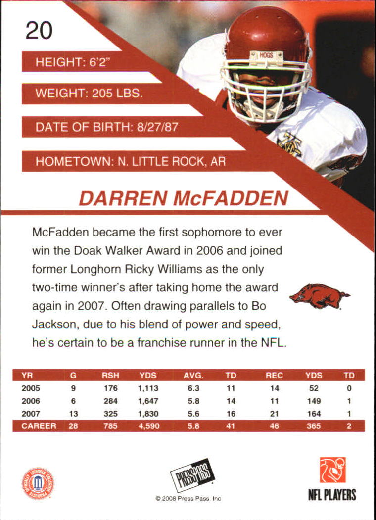 2008 Press Pass SE #20 Darren McFadden back image