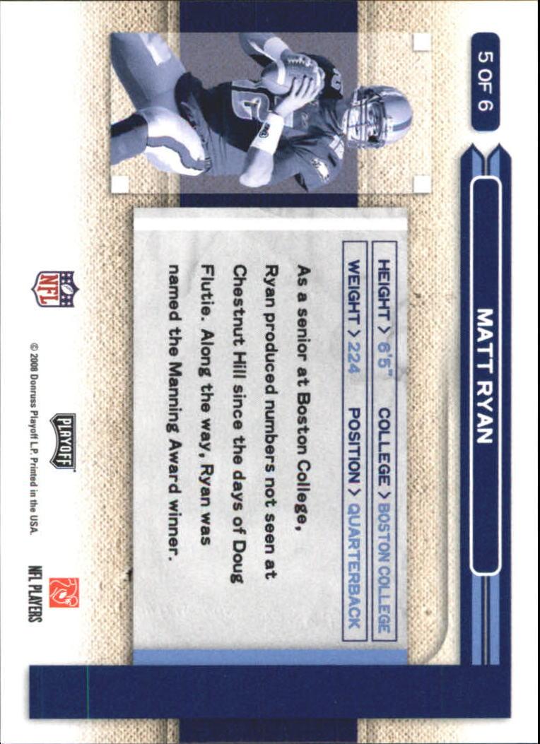 2008 Playoff Prestige Hawaii Trade Conference #5 Matt Ryan/NFL Draft back image