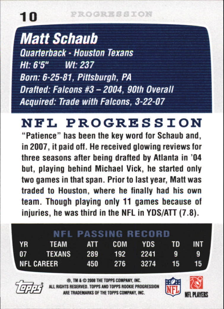 2008 Topps Rookie Progression #10 Matt Schaub back image