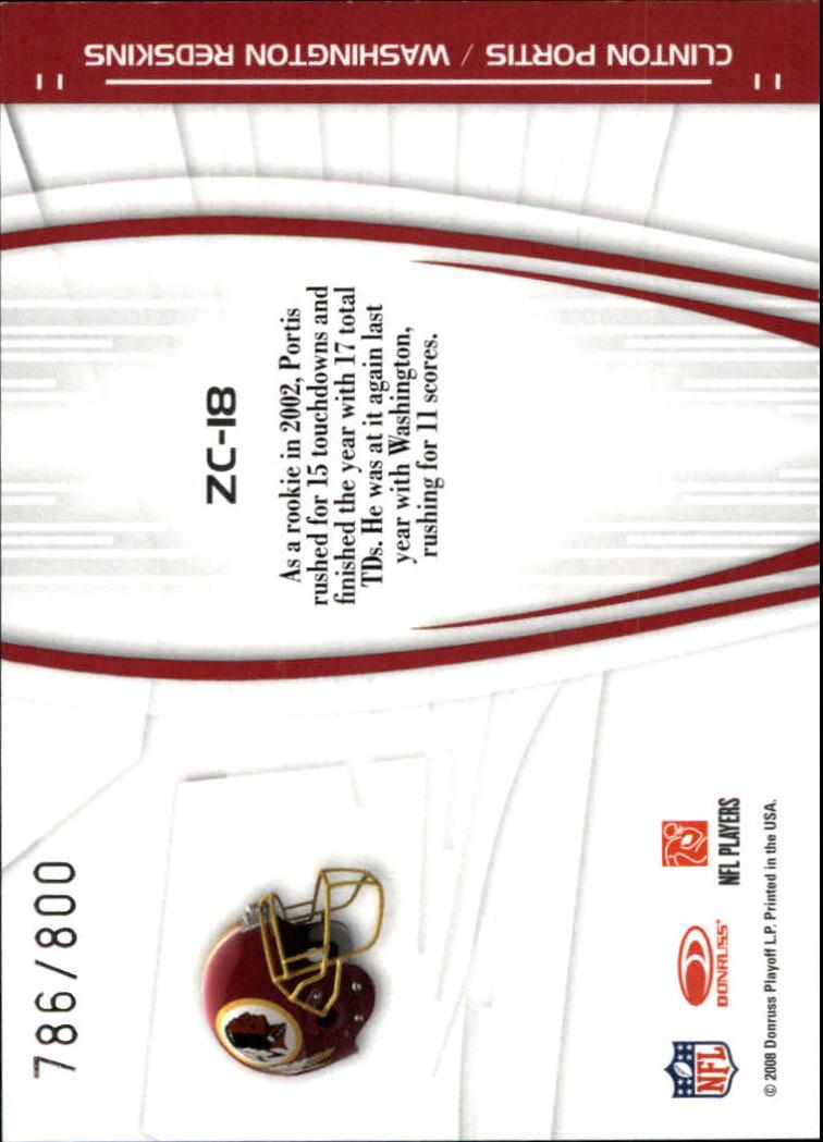 2008 Donruss Elite Zoning Commission Gold #18 Clinton Portis back image