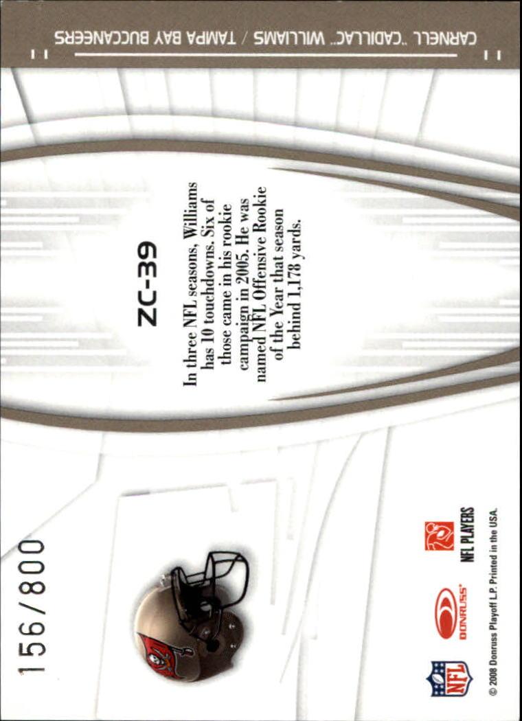 2008 Donruss Elite Zoning Commission Gold #39 Cadillac Williams back image