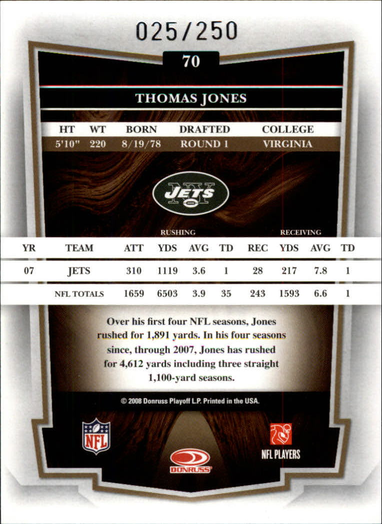 2008 Donruss Classics Timeless Tributes Bronze #70 Thomas Jones back image