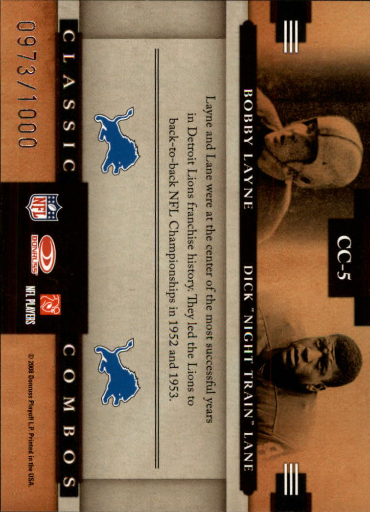 2008 Donruss Classics Classic Combos #5 Bobby Layne/Dick Lane back image