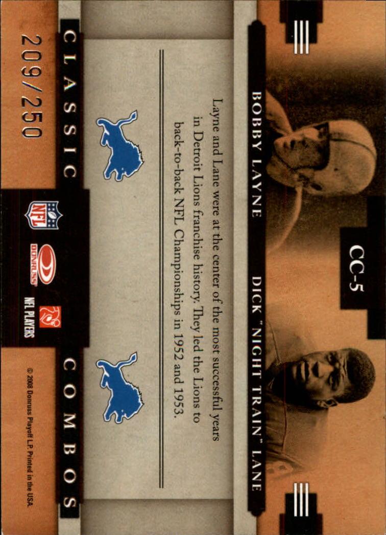 2008 Donruss Classics Classic Combos Silver Holofoil #5 Bobby Layne/Dick Lane back image