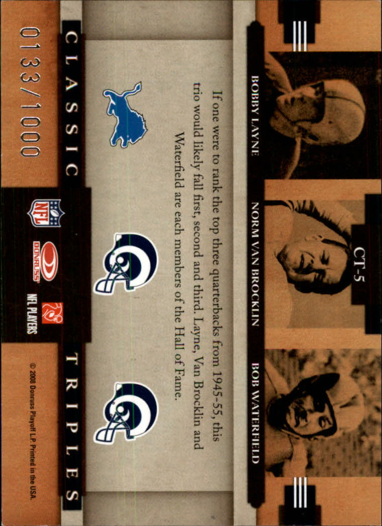 2008 Donruss Classics Classic Triples #5 Bobby Layne/Norm Van Brocklin/Bob Waterfield back image