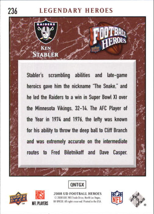 2008 Upper Deck Heroes #236 Ken Stabler back image