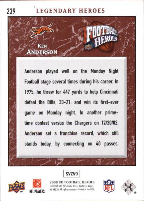 2008 Upper Deck Heroes #239 Ken Anderson back image