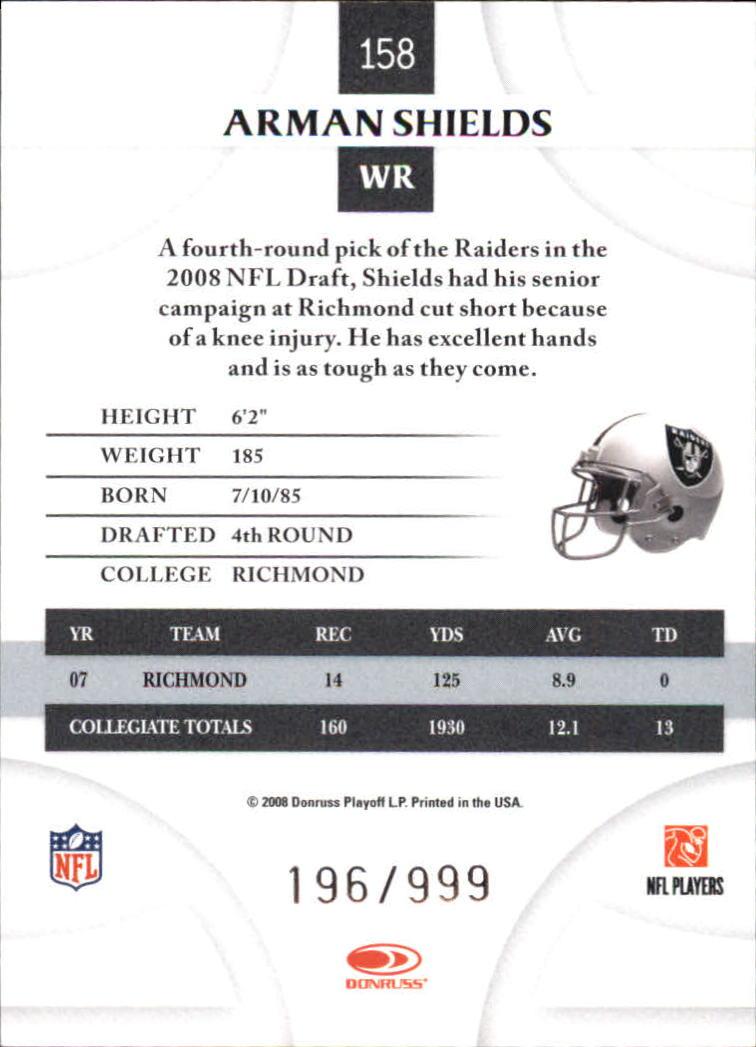 2008 Donruss Threads Retail Rookies #158 Arman Shields RC back image