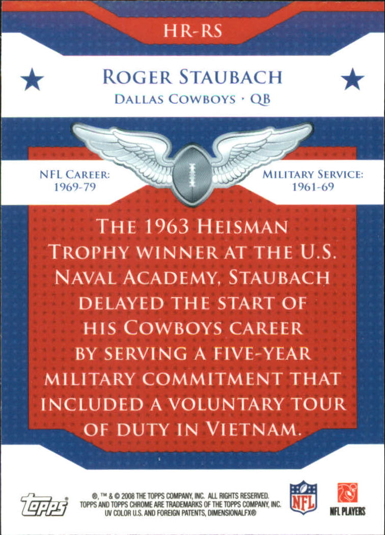 2008 Topps Chrome Honor Roll #HRRS Roger Staubach back image