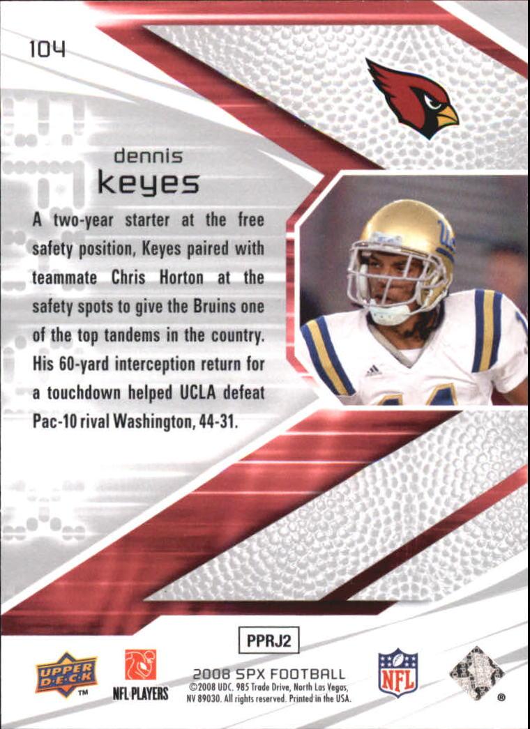 2008 SPx Green Holofoil Rookies #104 Dennis Keyes back image