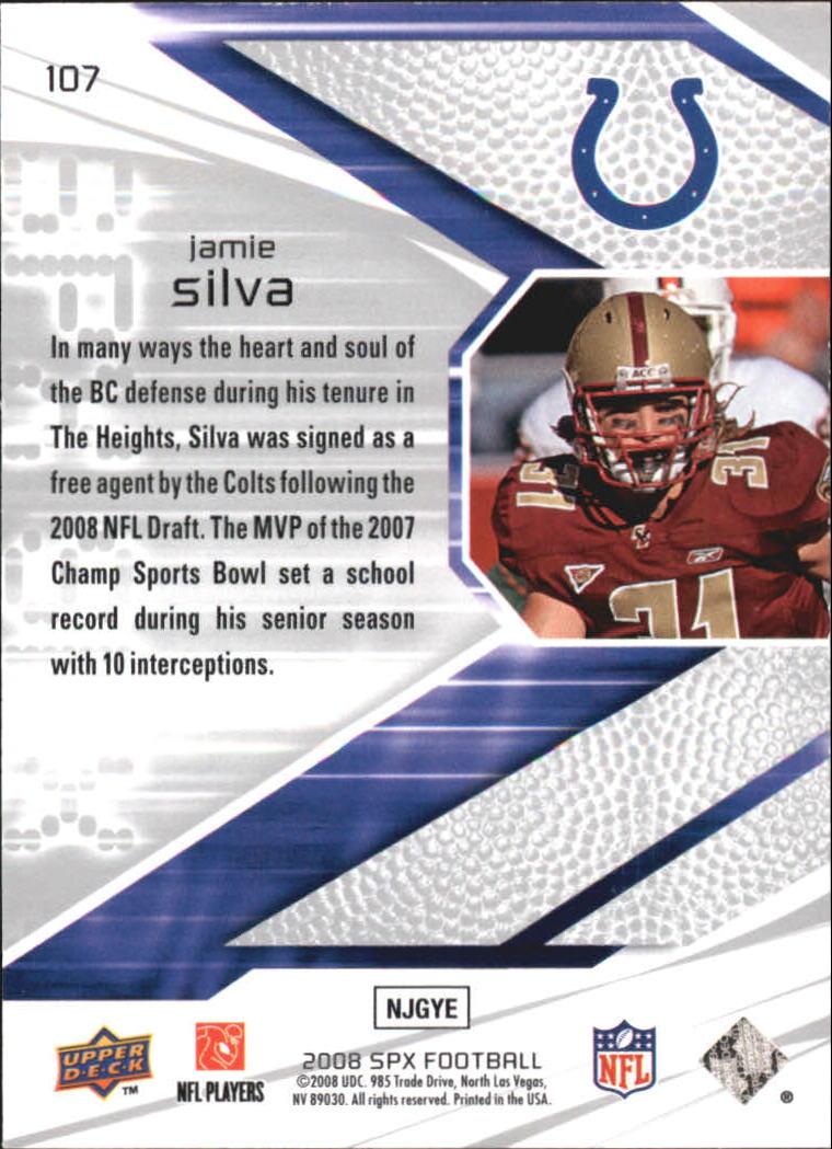 2008 SPx Green Holofoil Rookies #107 Jamie Silva back image