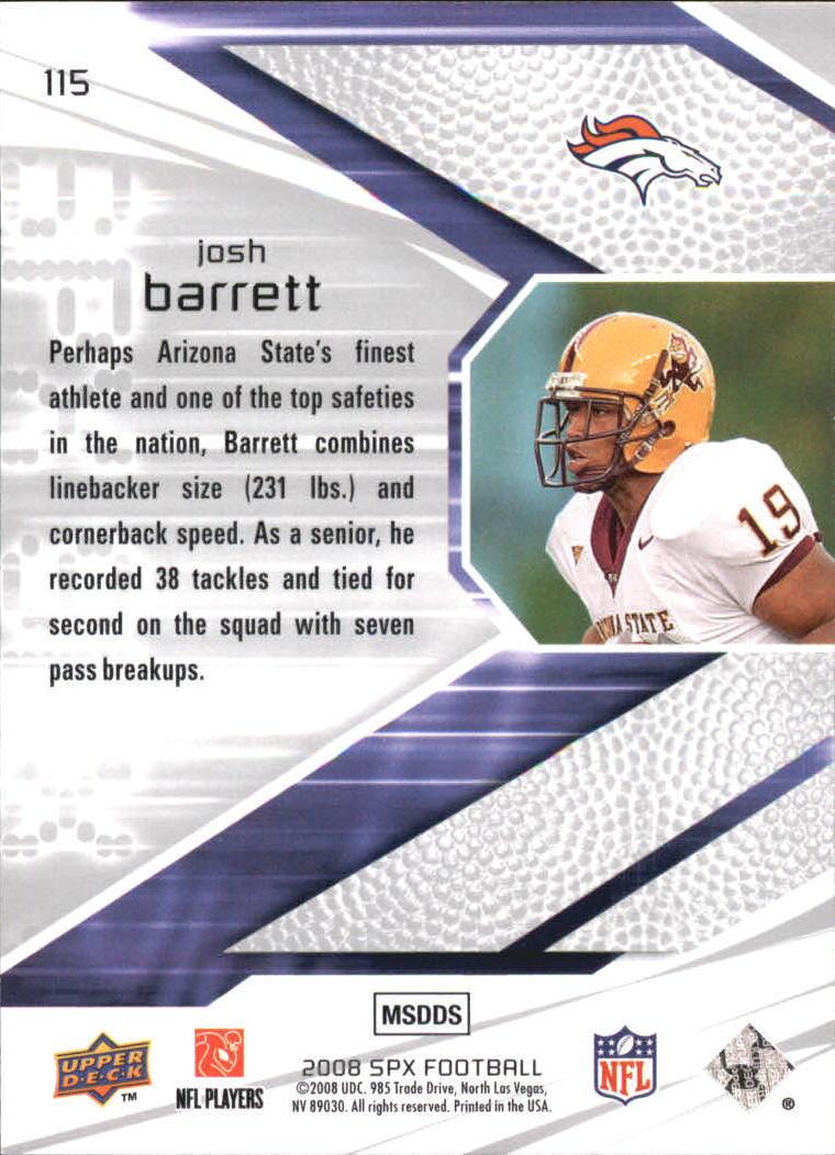 2008 SPx Green Holofoil Rookies #115 Josh Barrett back image
