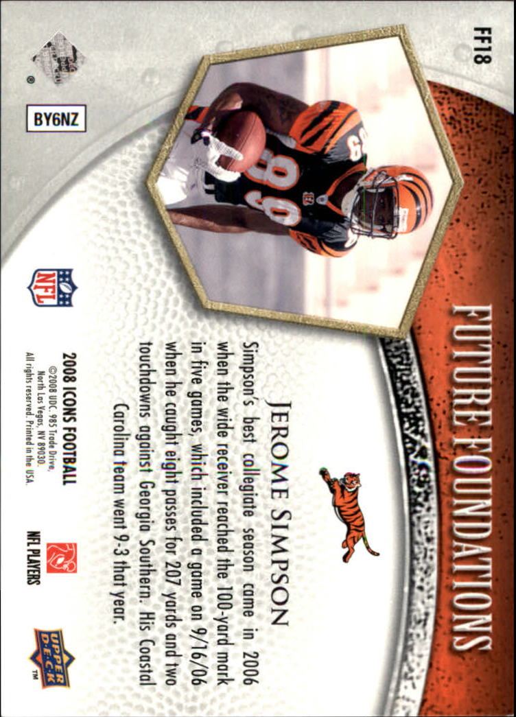 2008 Upper Deck Icons Future Foundations Silver #FF18 Jerome Simpson back image