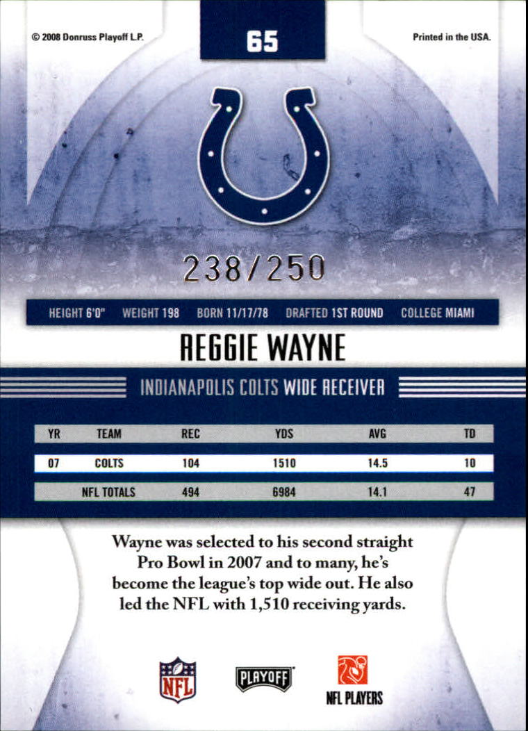 2008 Absolute Memorabilia Spectrum Blue Retail #65 Reggie Wayne back image