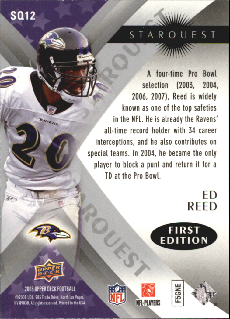 2008 Upper Deck First Edition StarQuest #SQ12 Ed Reed back image