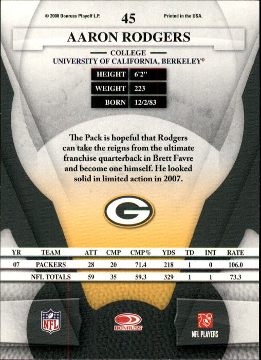 2008 Leaf Certified Materials #45 Aaron Rodgers back image