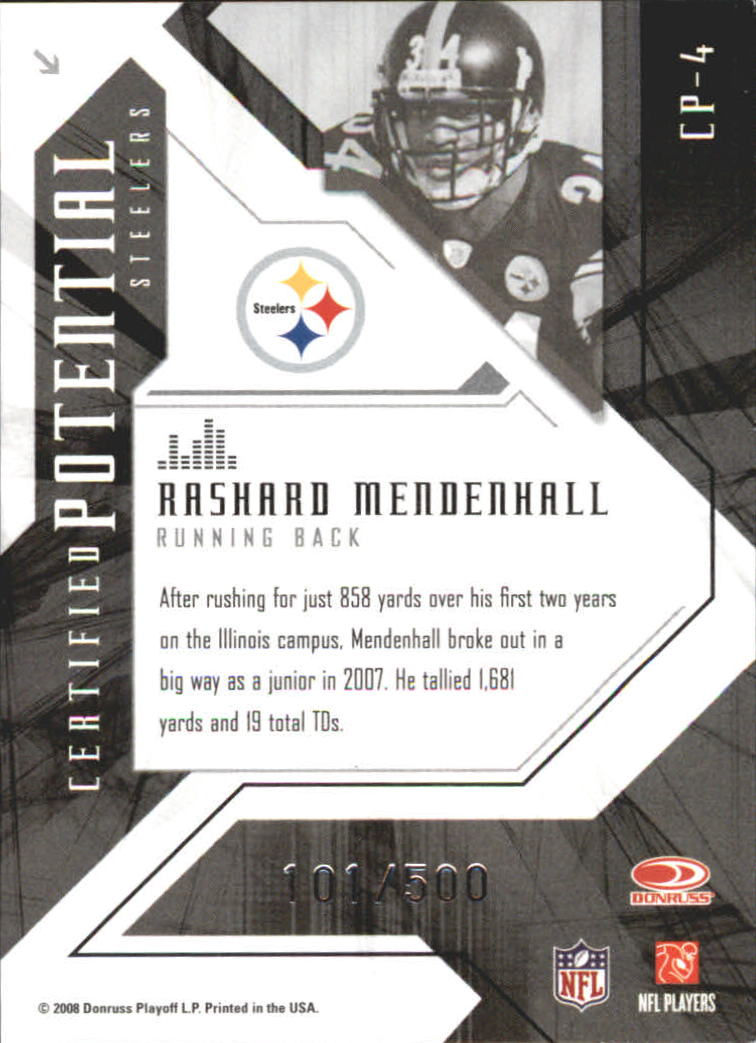 2008 Leaf Certified Materials Certified Potential Mirror #4 Rashard Mendenhall back image