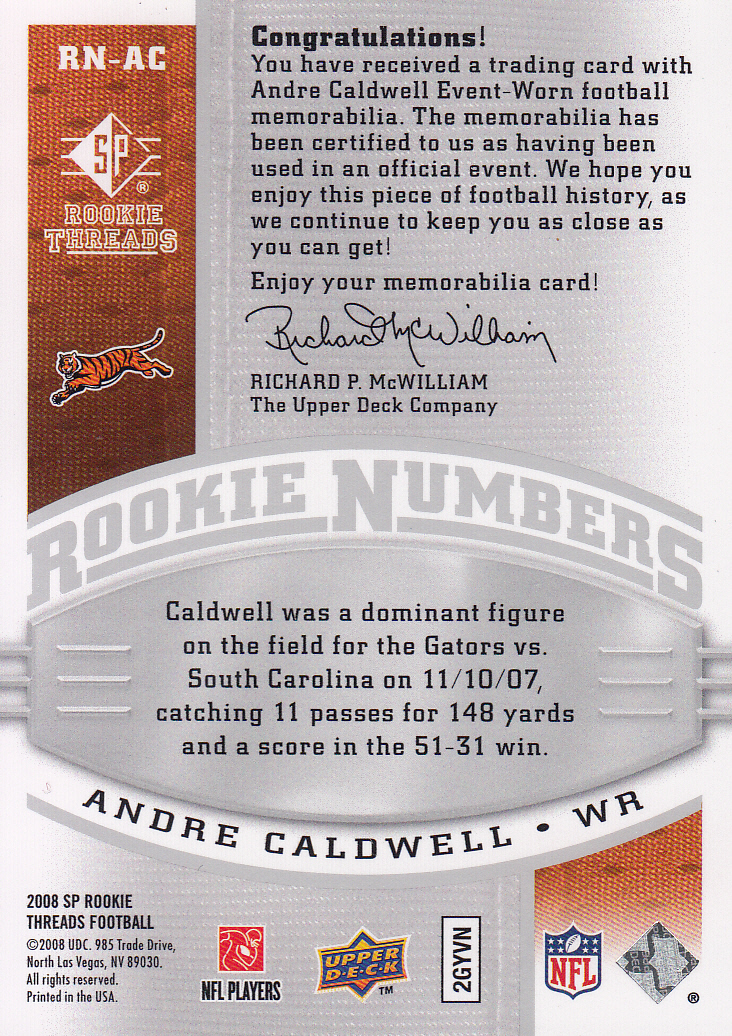 2008 SP Rookie Threads Rookie Numbers Silver 135 #RNAC Andre Caldwell back image