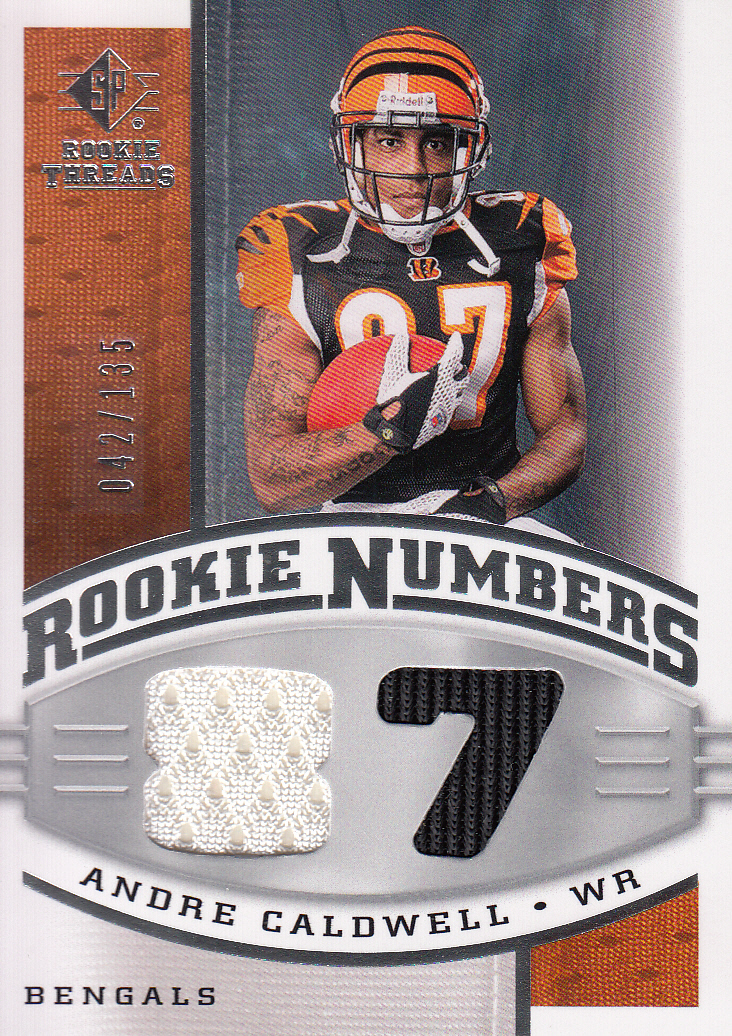 2008 SP Rookie Threads Rookie Numbers Silver 135 #RNAC Andre Caldwell