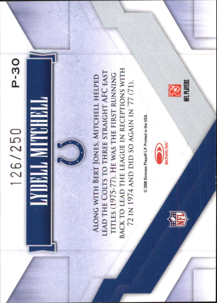 2008 Donruss Gridiron Gear Performers Silver #30 Lydell Mitchell back image