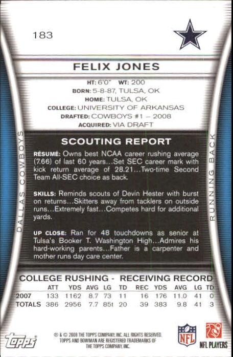 2008 Bowman #183 Felix Jones RC back image