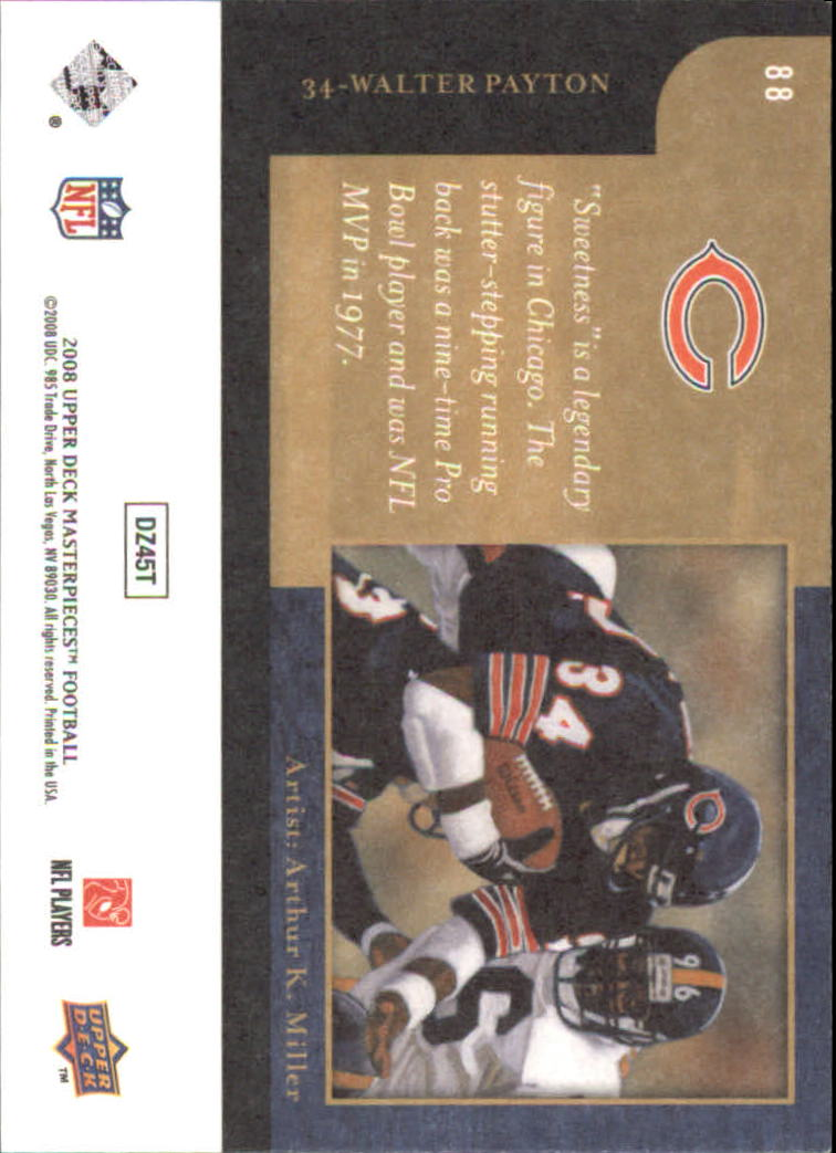 2008 UD Masterpieces #88 Walter Payton back image