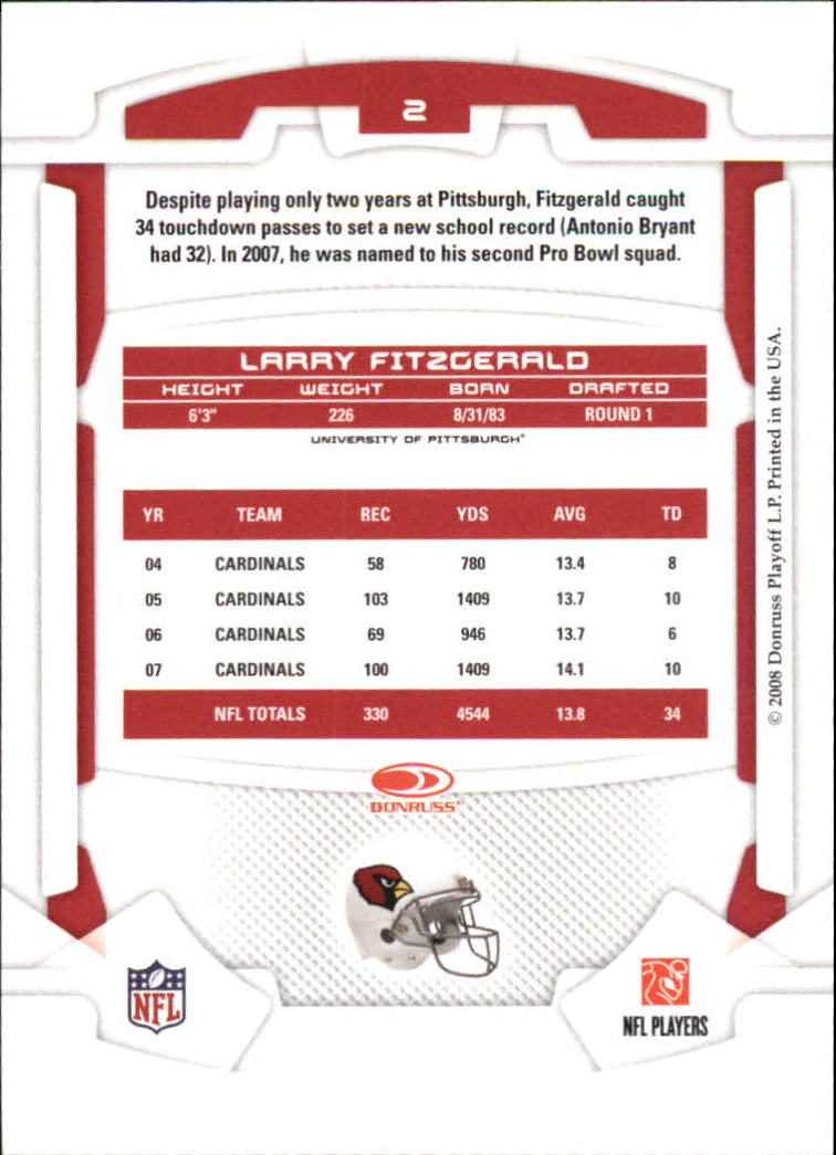 2008 Leaf Rookies and Stars #2 Larry Fitzgerald back image