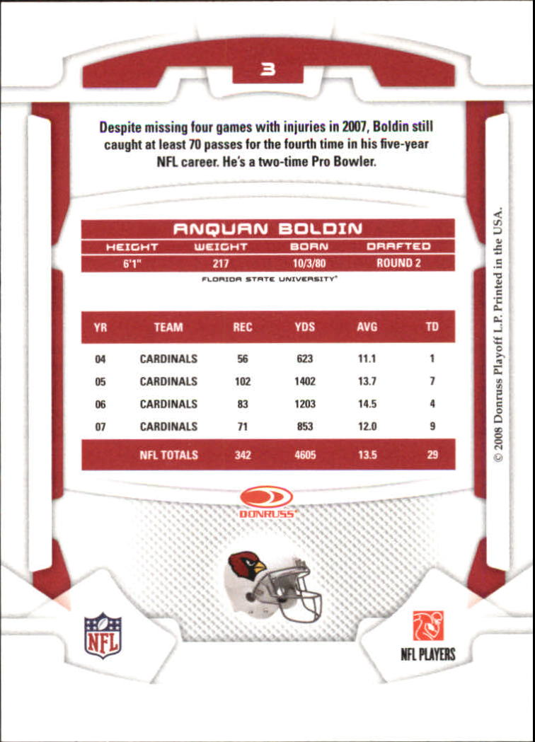 2008 Leaf Rookies and Stars #3 Anquan Boldin back image