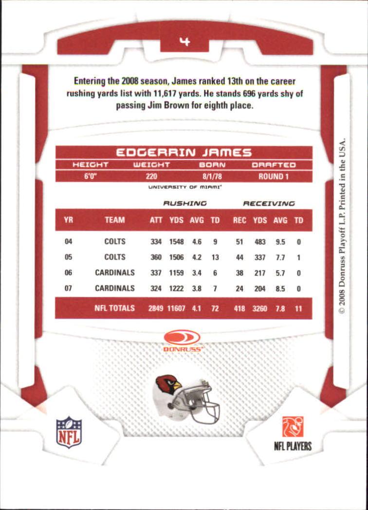 2008 Leaf Rookies and Stars #4 Edgerrin James back image