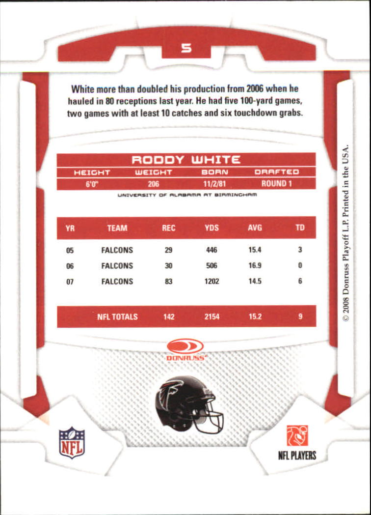 2008 Leaf Rookies and Stars #5 Roddy White back image