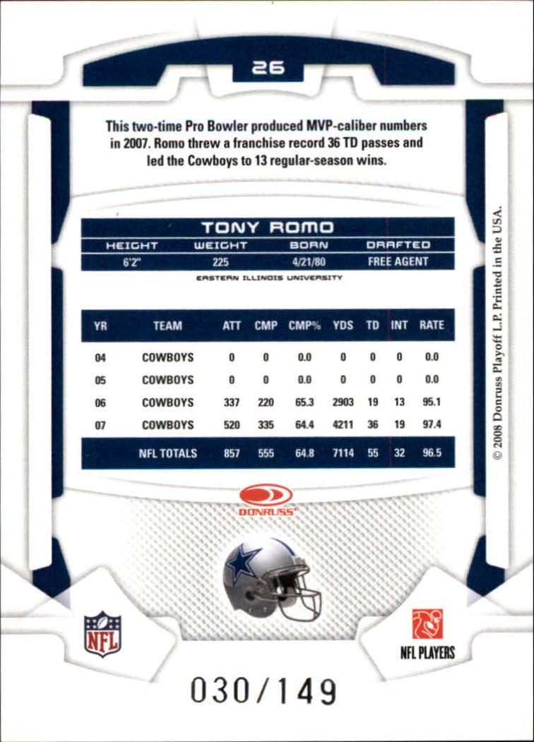 2008 Leaf Rookies and Stars Longevity Ruby #26 Tony Romo back image