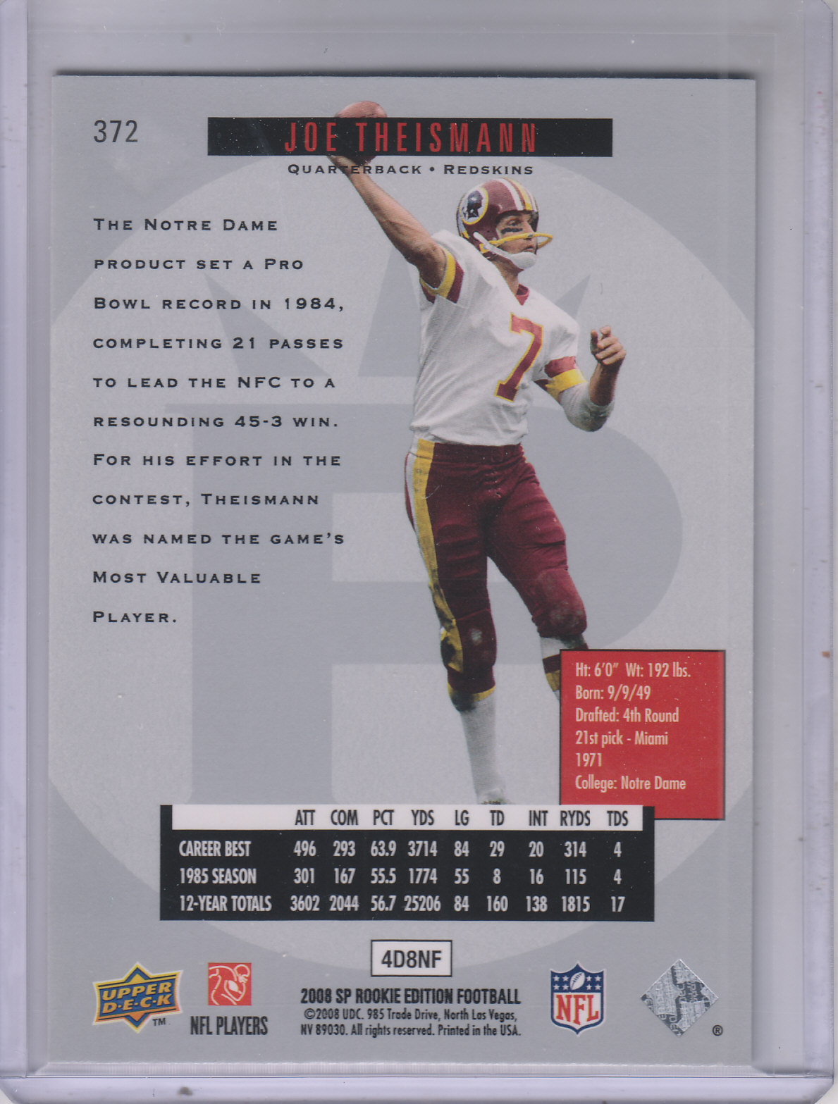 2008 SP Rookie Edition #372 Joe Theismann 96 back image