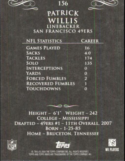 2008 Topps Mayo #156 Patrick Willis back image
