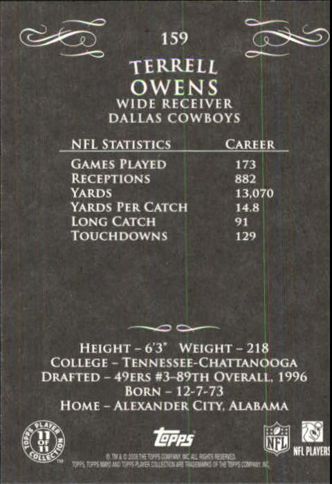 2008 Topps Mayo #159 Terrell Owens SP back image