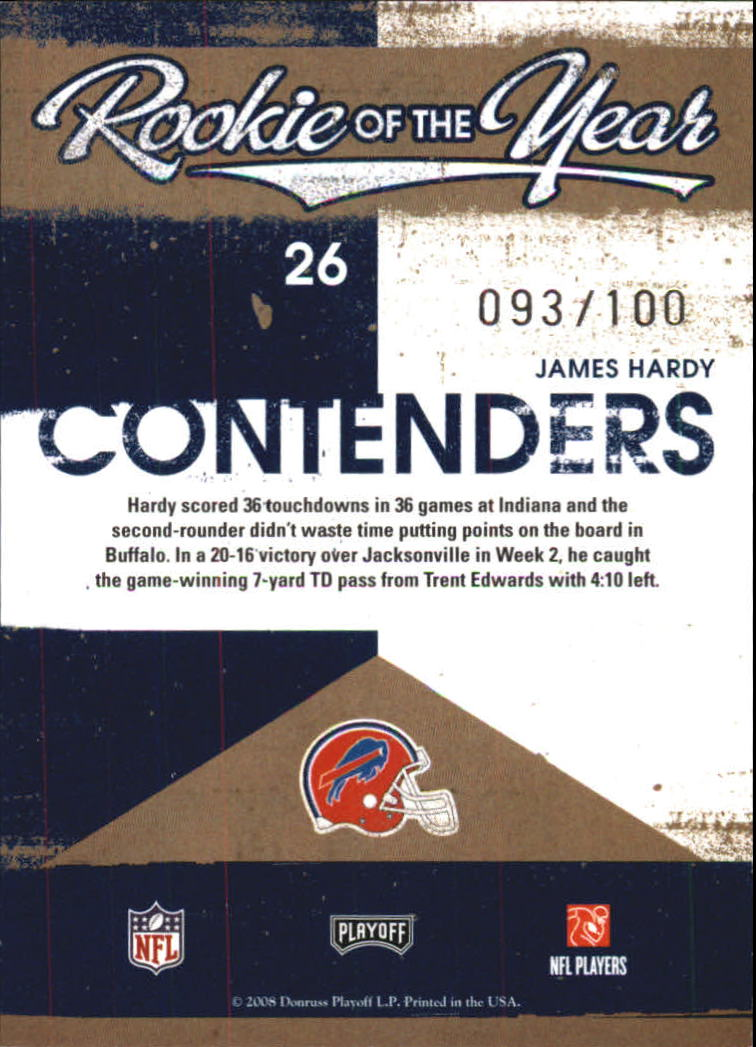 2008 Playoff Contenders ROY Contenders Gold #26 James Hardy back image