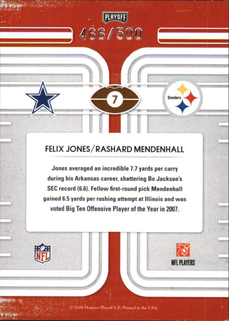 2008 Playoff Contenders Round Numbers #7 Felix Jones/Rashard Mendenhall back image