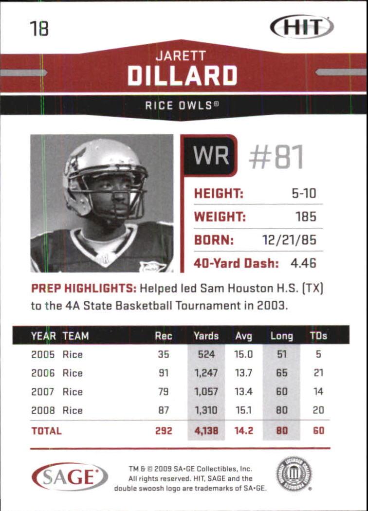 2009 SAGE HIT #18 Jarett Dillard back image